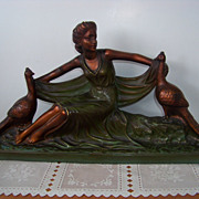 Large Arnova Woman & Peacocks, Chalkware Figurine Statue