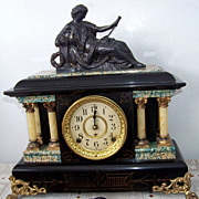 Antique, Seth Thomas Shelf Mantle Clock W Woman  Statue Top  1880