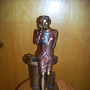 SALE Large Austin Sculpture Woman / Secretary Statue, Chalkware,  1992
