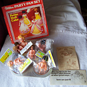 SALE 1971 Wilton Party Pan Set, Petite Doll Cakes W Dolls  Mold  Barbie