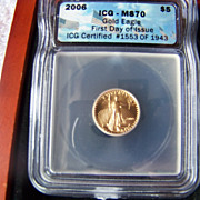 SALE 2006 $5 Gold Eagle Coin MS70 First Day Of Issue  Box
