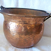 SALE Metal Copper Finish Pan, Bucket W Wire Handle
