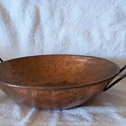 SALE Hammered Metal Copper Finish Pan, W Wire Handles