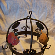 SALE Domed Wrought Iron Pot Hanger W Vegetable Decorations