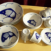 Set  Of Syracuse China Restaurant Ware Cobalt Fish Dishes