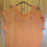 Vintage Sequine Chiffon Dress, Beaded,  Orange