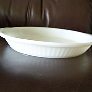 Fire-King #1460 Ribbed Milk Glass Shallow Pie Plate