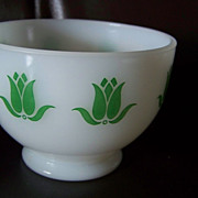 Fire King Green Tulip Cottage Cheese Bowl