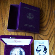 1986 American Eagle 1 Oz. Silver Bullion Coin & Box, First Year