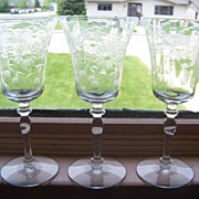3 Elegant Floral Etched Depression Glass Stem Goblets, Glasses