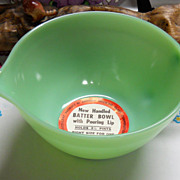 Vintage Jadeite Batter Bowl with Original Label