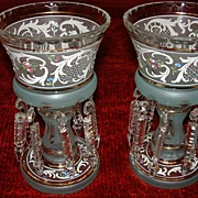 SALE Czechoslovakian Crystal Mantle Lustres, Luster's  Pair