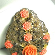 SALE Coral Colored Plastic and Gold Toned Gilt Dress Clip