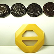 SALE Vintage Yellow Bakelite Buckle and Brown Bakelite Buttons