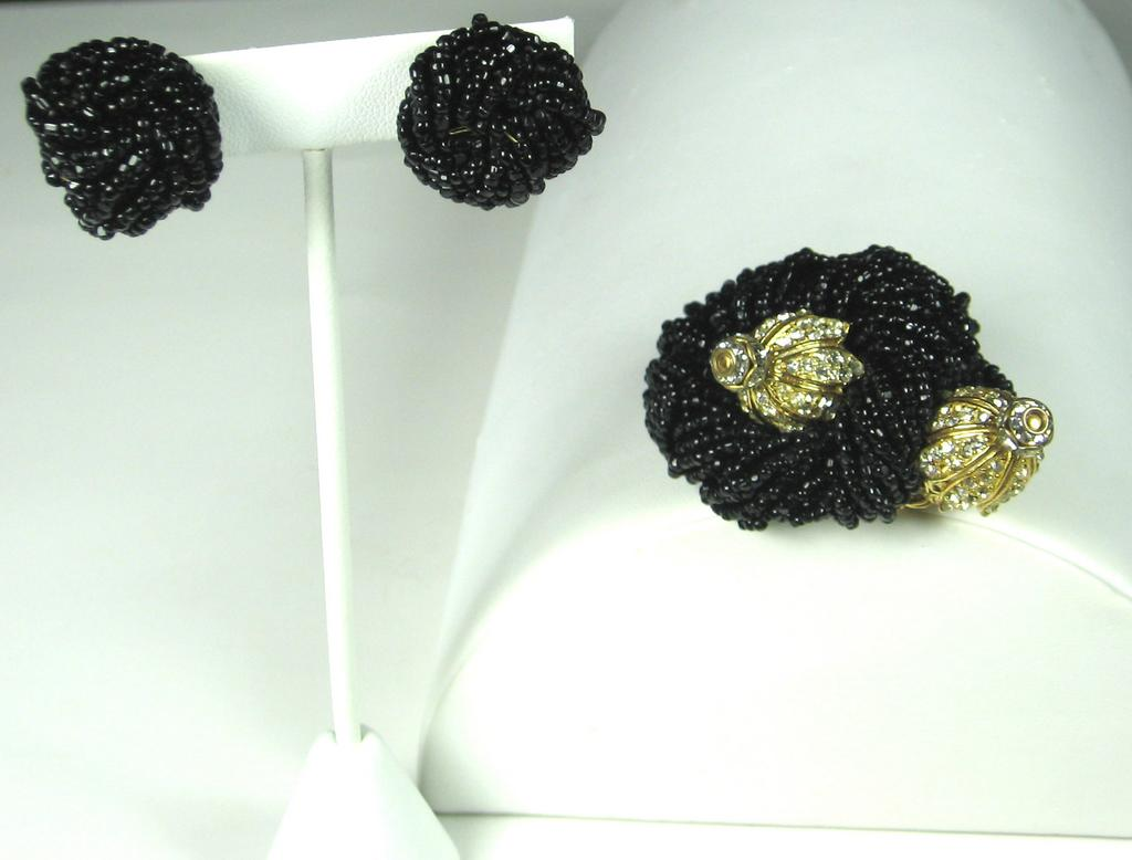 1950s Hattie Carnegie Black Seed Bead Pin and Earrings