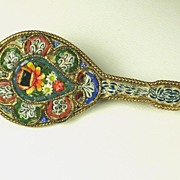 SALE Antique Victorian Italian FAP Mosaic Mandolin Pin