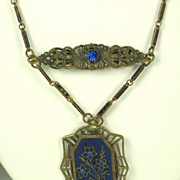 1920s Art Deco Brass and Blue Enameled Floral Necklace