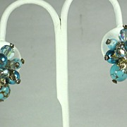 SALE Vendome Aurora Borealis Crystal and Art Glass Bead Earrings
