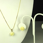 SALE Curtman Company 1/20 12kt Gold Fill and Molded Glass Floral Necklace and Earrings
