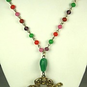 SALE Marbled Glass Bead and Gold Toned Oriental Motif Necklace