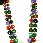 SALE Hattie Carnegie Bakelite, Plastic, and Glass Bead Necklace