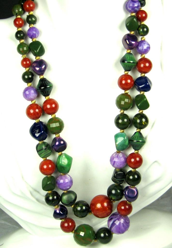 Two Strand Hattie Carnegie Marbled Bakelite, Faceted Plastic, and  from judysgems on Ruby Lane