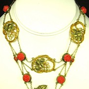 SALE Art Nouveau 10kt Gold, Coral, Celluloid, and Imitation Pearl Floral Necklace