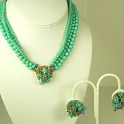 SALE Eugene Four Strand Glass Bead Floral Necklace and Earrings