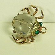 SALE Coro Sterling and Lucite Jelly Belly Beetle Fur Clip