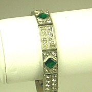 SALE Art Deco 1920s French Emerald Green Paste Bracelet