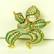SALE Ciner Rhinestone Dancing Figural Pin with Imitation Pearls