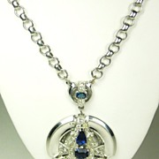 McClelland Barclay Chrome and Sapphire Glass Necklace