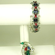 Trifari K.T.F. Jewels of India Bracelet and Fur Clip Set