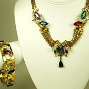 SALE McClelland Barclay Colorful Glass Necklace and Bracelet Set