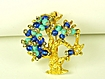Gold Plated Metal, Blue, and Turquoise Colored Glass Bead Hattie Carnegie Tree Pin