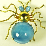 SALE 1930s Art Deco Blue Satin Glass Czech Spider Pin