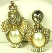 "Vintage ""HC"" 1940s Hattie Carnegie Imitation Pearl King and Queen Fur Clips"