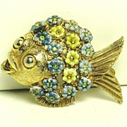 SALE Hattie Carnegie Yellow and Blue Enamel Flower Fish Pin