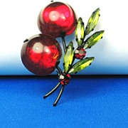 Japanned Black Metal and Red Glass Cherries Austria Fruit Pin