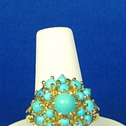 SALE Vintage 14kt Gold and Genuine Turquoise Ring