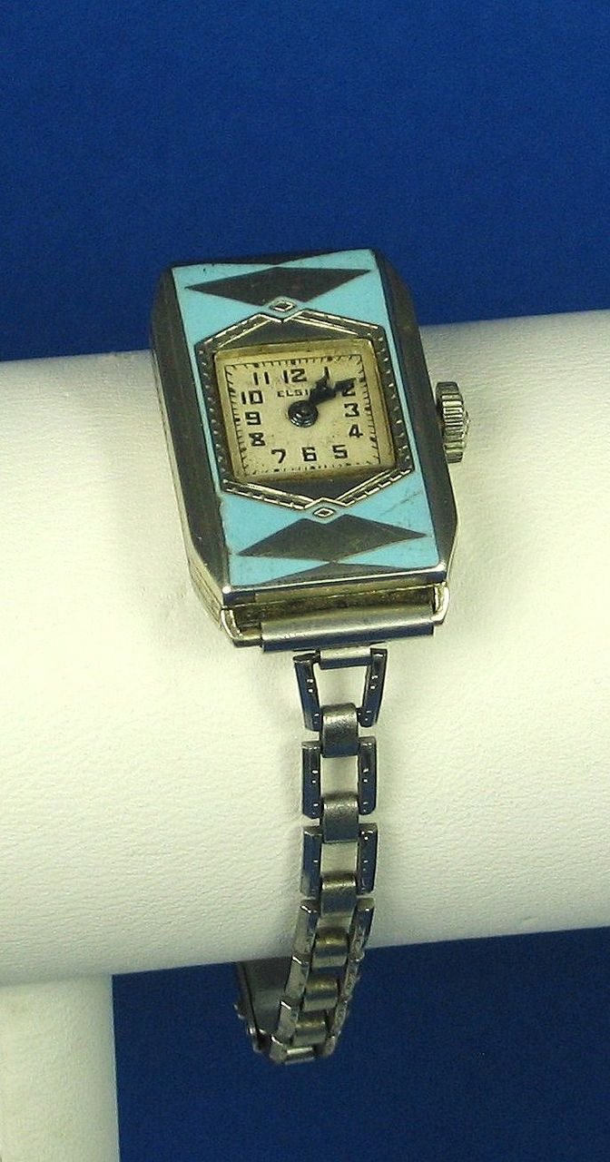 Art Deco Elgin Parisian Louise Boulanger 14kt Gold & Blue Enamel  from judysgems on Ruby Lane