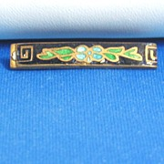 Antique Victorian Inlaid Glass Floral Pin