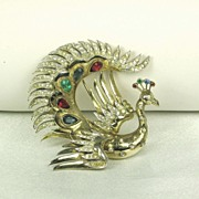 SALE Vintage Trifari Sterling and Rhinestone Peacock Fur Clip
