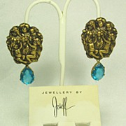 Vintage Joseff of Hollywood Burnished Gold Tone Metal Cherub Earrings