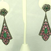 Antique Victorian 14kt Gold Ruby, Emerald, and Diamond Earrings