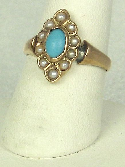 Antique Victorian 14kt Gold, Cultured Pearl, and Turquoise Ring