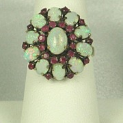 Vintage 14kt Gold, Ruby, and Opal Ring
