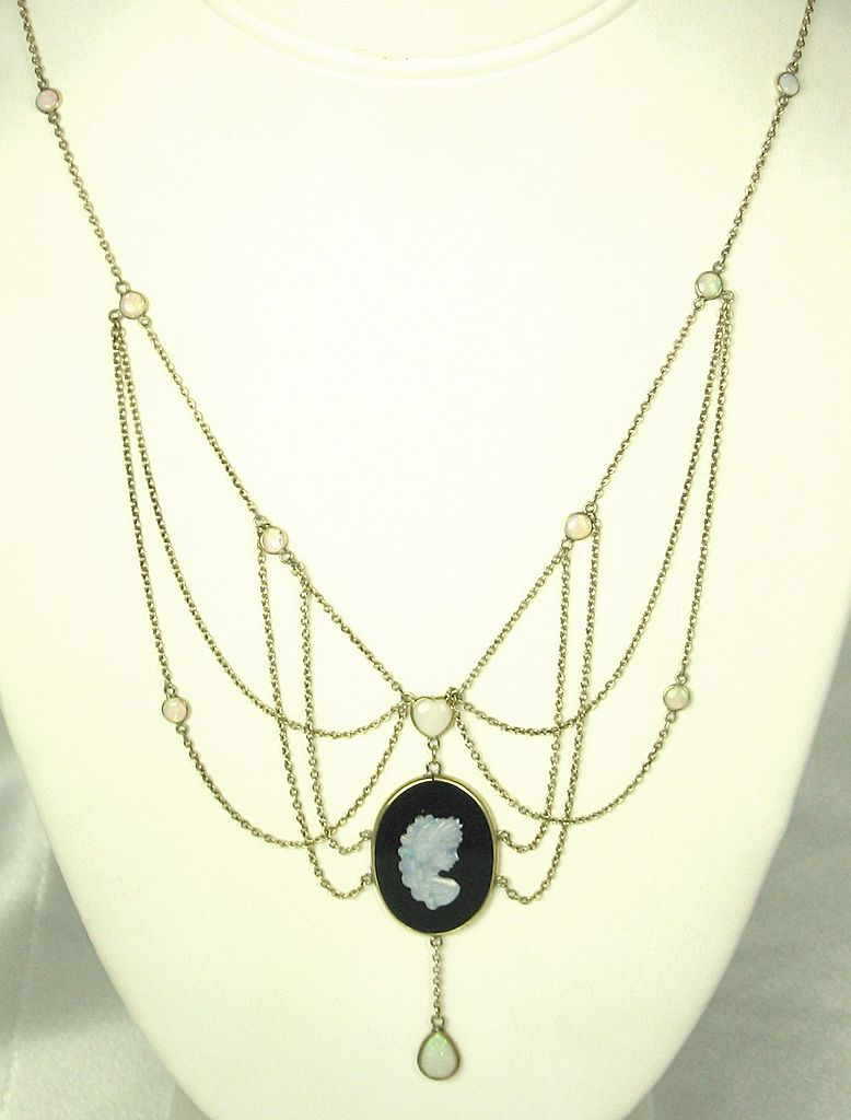 Vintage Antique 9kt Gold, 3.00ct Opal, and Onyx Cameo Necklace from judysgems on Ruby Lane