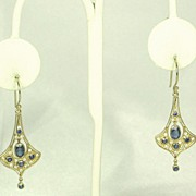 SALE Antique Vintage 10kt Gold, Diamond, and Sapphire Dangle Earrings