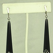 SALE Vintage 925 Sterling and Black Plastic Dangle Earrings